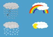 Olikt väder fyra: regn, snö, regnbåge och soligt Royaltyfri Foto