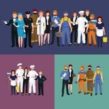 Olikt yrke för folk Uppsättning för man- och kvinnavektorillustration vektor illustrationer