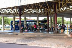 Bus Terminal of the city of Olimpia, in Sao Paulo Royalty Free Stock Photos