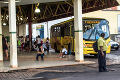 Bus Terminal of the city of Olimpia, in Sao Paulo Stock Images