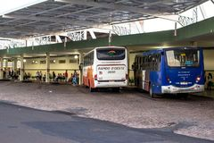 Bus Terminal of the city of Olimpia, in Sao Paulo Royalty Free Stock Image