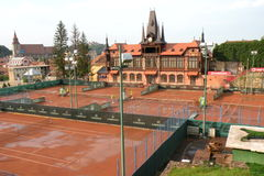 Olimpia tennis court in Brasov (Kronstadt), in Transilvania. Stock Photo