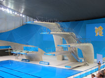 Olimpiadas 2012 de Londres alta Dive Board que se zambulle Fotos de archivo