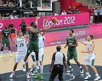 Olimpiadas de Londres 2012 jugadores de básquet Fotos de archivo libres de regalías