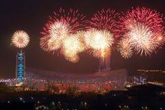 Olimpiadas de Pekín del punto culminante de los fuegos artificiales que abren el cerem Fotos de archivo libres de regalías