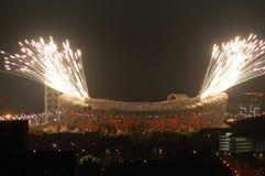 Olimpiadas de Pekín del punto culminante de los fuegos artificiales que abren el cerem Foto de archivo libre de regalías