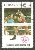 Olimpiadas Montreal, encajonando foto de archivo