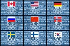 Olimpiadi 2010 bandierine Fotografia Stock Libera da Diritti