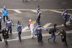 Olimpic火在莫斯科 免版税图库摄影