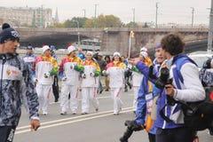 Olimpic火的种族在莫斯科 库存图片