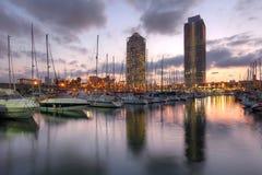 端口Olimpic,巴塞罗那,西班牙 免版税库存照片