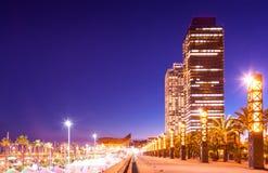 口岸Olimpic -夜生活的中心在巴塞罗那 免版税图库摄影