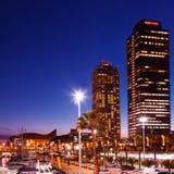 口岸Olimpic -夜生活的中心在巴塞罗那 免版税库存照片