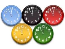 Olimpic clocks. Colour clocks on white background Stock Photo