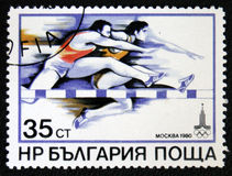 Olimpic game 1980 in Moscow. Shows Steeplechase. Circa 1980. MOSCOW, RUSSIA - JANUARY 7, 2017: A stamp printed in USSR devoted Olimpic game 1980 in Moscow. Shows Royalty Free Stock Image