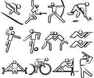 Olimpic sports. All summer olimpic sports black slim silhouette signs isolated Stock Photos
