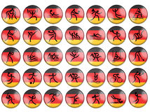 Olimpic summer game simbols germany flag. All summer olimpic sports red buttons with silhouette signs on germany flag background Stock Photos