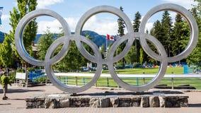 Olimpijscy pierścionki przed kanadyjczyk flaga obrazy stock