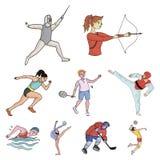 Olimpijscy sporty Zimy i lata sporty Set obrazki o atletach Olimpijska sport ikona w ustalonej kolekci dalej Fotografia Stock