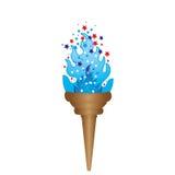 olimpijska pochodnia z błękitnym płomieniem Zdjęcia Royalty Free
