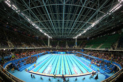 Olimpijski Aquatics centrum w Rio Olimpijskim parku podczas Rio 2016 olimpiad obrazy stock