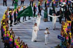Olimpijski drużynowy Arabia Saudyjska maszerował w Rio 2016 olimpiad ceremonię otwarcia fotografia royalty free