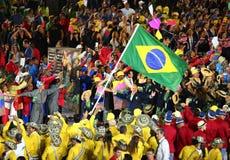 Olimpijski drużynowy Brazylia maszerował w Rio 2016 olimpiad ceremonię otwarcia Zdjęcie Stock