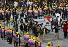Olimpijski drużynowy Brazylia maszerował w Rio 2016 olimpiad ceremonię otwarcia przy Maracana stadium w Rio De Janeiro Zdjęcie Stock