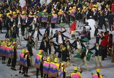 Olimpijski drużynowy Brazylia maszerował w Rio 2016 olimpiad ceremonię otwarcia przy Maracana stadium w Rio De Janeiro Zdjęcia Stock