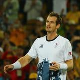 Olimpijski mistrz Andy Murray Wielki Brytania świętuje zwycięstwo po tym jak tenisowy mężczyzna ` s przerzedże finał Rio 2016 oli Zdjęcie Stock