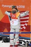 Olimpijski mistrz Chloe Kim świętuje zwycięstwo w kobiety ` s snowboard halfpipe finale przy 2018 olimpiadami zimowymi zdjęcia stock