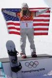 Olimpijski mistrz Chloe Kim świętuje zwycięstwo w kobiety ` s snowboard halfpipe finale przy 2018 olimpiadami zimowymi obrazy stock