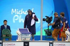 Olimpijski mistrz Michael Phelps Stany Zjednoczone przed pływać mężczyzna 200m motyla przy Rio 2016 olimpiad Zdjęcia Royalty Free