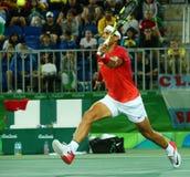 Olimpijski mistrz Rafael Nadal Hiszpania w akci podczas mężczyzna kopii round 2 Rio 2016 olimpiad Zdjęcia Royalty Free