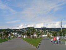 Olimpijski park Sochi, Rosja, ludzie chodzi, zieleni gazony i drzewka palmowe, fotografia stock