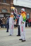Olimpijski pochodni luzowanie Zdjęcia Stock