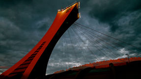 Olimpijski stadium w Montreal przy zmierzchem Obrazy Stock