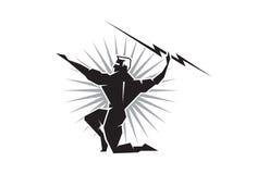 Olimpijski Zeus rzuca rygiel błyskawica ilustracja wektor