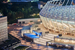 Olimpiyskiy stadium before football match in Kyiv. Olimpiyskiy stadium in Kyiv, Ukraine Royalty Free Stock Image