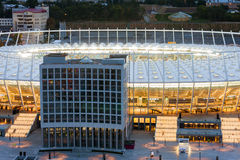 Olimpiyskiy stadium in Kyiv. Before football match Royalty Free Stock Photo