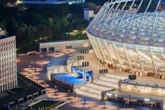 Olimpiyskiy stadium przed futbolowym dopasowaniem w Kyiv Obraz Royalty Free