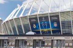 Olimpiyskiy Stadium with UEFA Champions League final banner. Kiev, Ukraine. Royalty Free Stock Photo