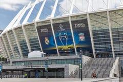 Olimpiyskiy Stadium with UEFA Champions League final banner. Kiev, Ukraine. Stock Photography