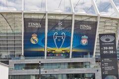 Olimpiyskiy Stadium with UEFA Champions League final banner. Kiev, Ukraine. Stock Images