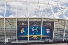 Olimpiyskiy Stadium with UEFA Champions League final banner. Kiev, Ukraine. Stock Photo