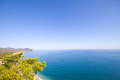 Olimpos Mediterranean Sea and Mountain . Antalya. Sea a beach and mountains from height Royalty Free Stock Photos