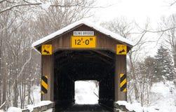 Olin Road Bridge Winter. Olin Road covered bridge in winter Stock Image