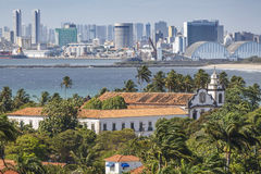 Olinda and Recife. Aerial view of Olinda and Recife in Pernambuco, Brazil contrasting the historic buildings of Olinda with the contemporary skyscrapers of stock photos