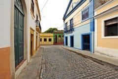OLINDA street. OLINDA, RECIFE, BRAZIL, SEPTEMBER 1, 2009. Beautiful colourful houses in Olinda, Recife, Brazil, on September 1st, 2009. Houses on both sides of a stock images