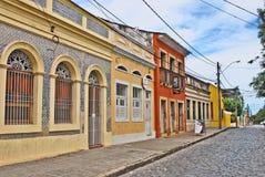 OLINDA street. OLINDA, RECIFE, BRAZIL, SEPTEMBER 1, 2009. Beautiful colourful houses in Olinda, Recife, Brazil, on September 1st, 2009. An ocra colured house, a stock photos